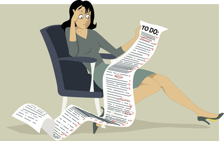 Lady with to do list